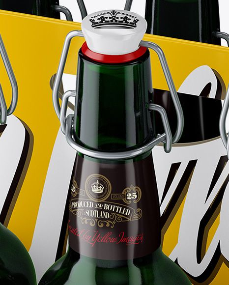 White Paper 6 Pack Green Bottle Carrier Mockup – Halfside View (High Angle)