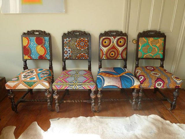 Frumpy Chairs Get A Tribal Fabric Makeover Modhomeec Painting Fabric Chairs African Furniture African Home Decor