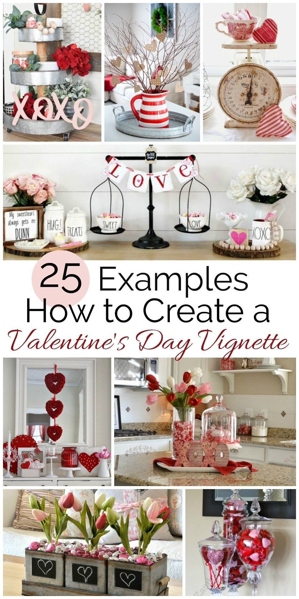 Tips for Creating a Valentine's Day Vignette - Diy valentine's day decorations, Diy valentines decorations, Valentines day decorations, Valentines diy, Valentine's home decoration, Valentine decorations - Learn some tips for creating an Valentine's Day vignette  We look at examples of 25 different stunning vignettes and talk about the details in them