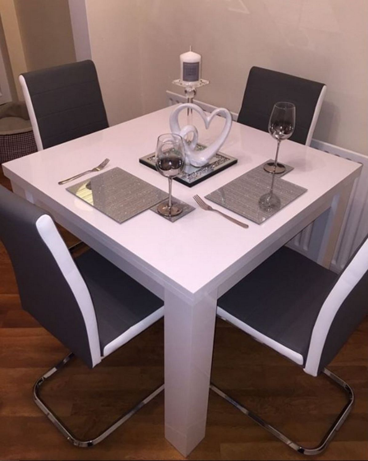 White High Gloss Flip Top Dining Table - Extending  4 seater