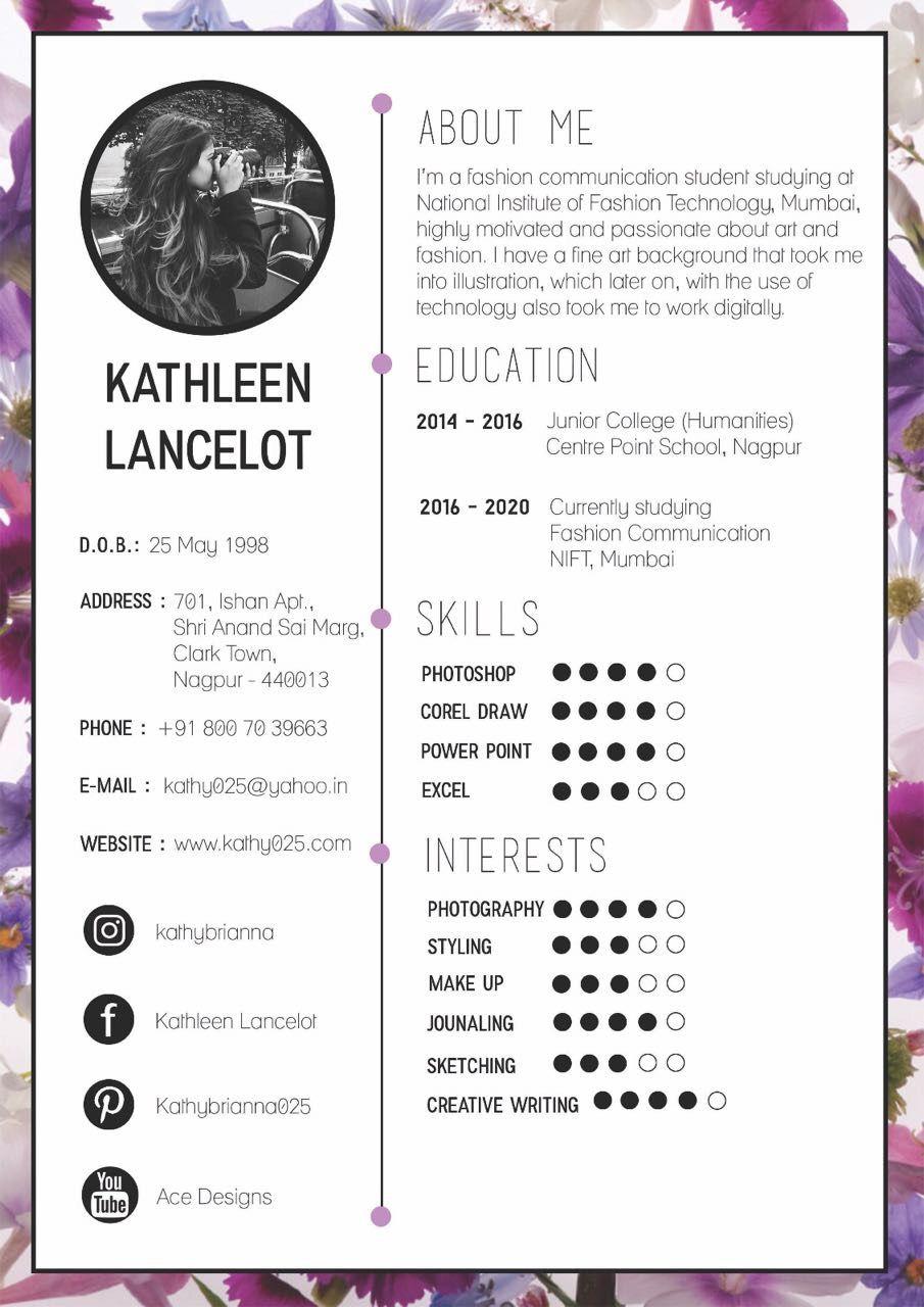 Creatives Resume For A Graphic Designer Resume Cv Pinterest