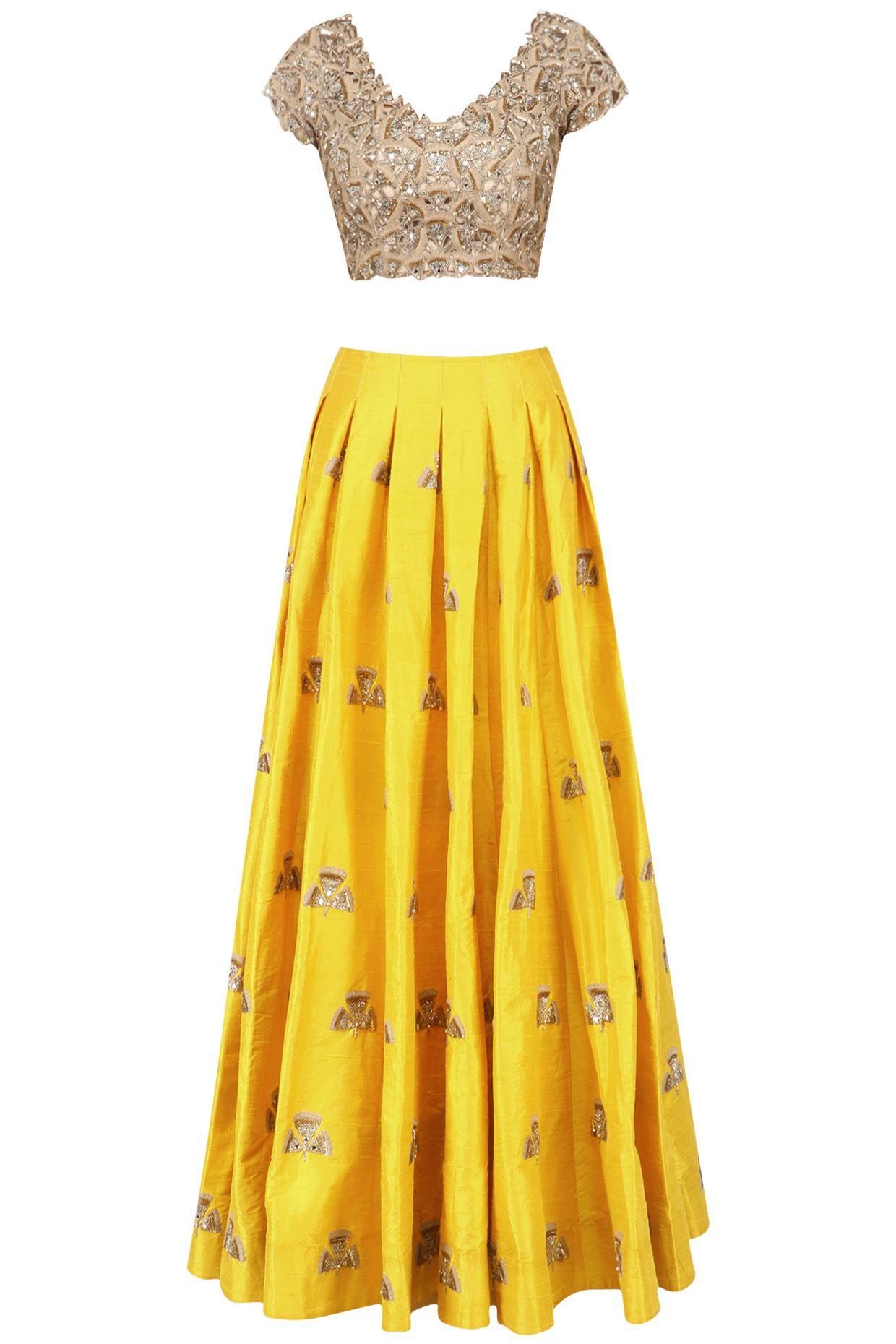 Yellow Gingko Butti Embroidered Lehenga Skirt And Embroidered Blouse