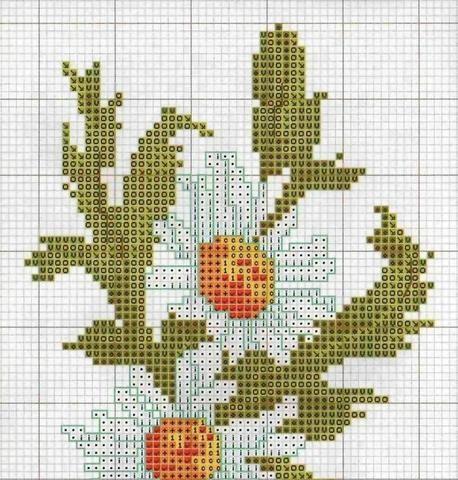 Схема вышивки крестиком ромашками 13