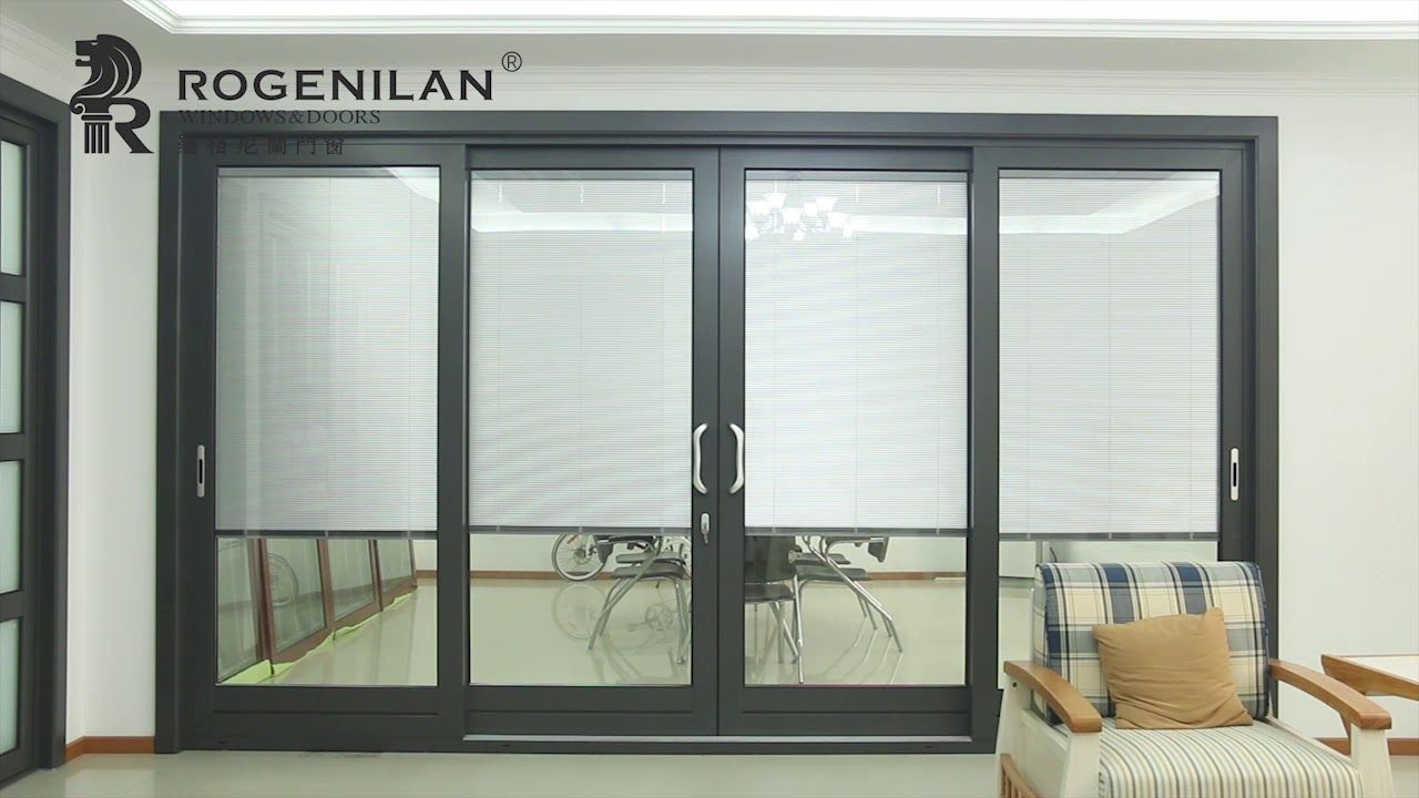139 Series Thermal Break Aluminum Sliding Door With Electric Blinds Aluminium Sliding Doors Electric Blinds Sliding Doors