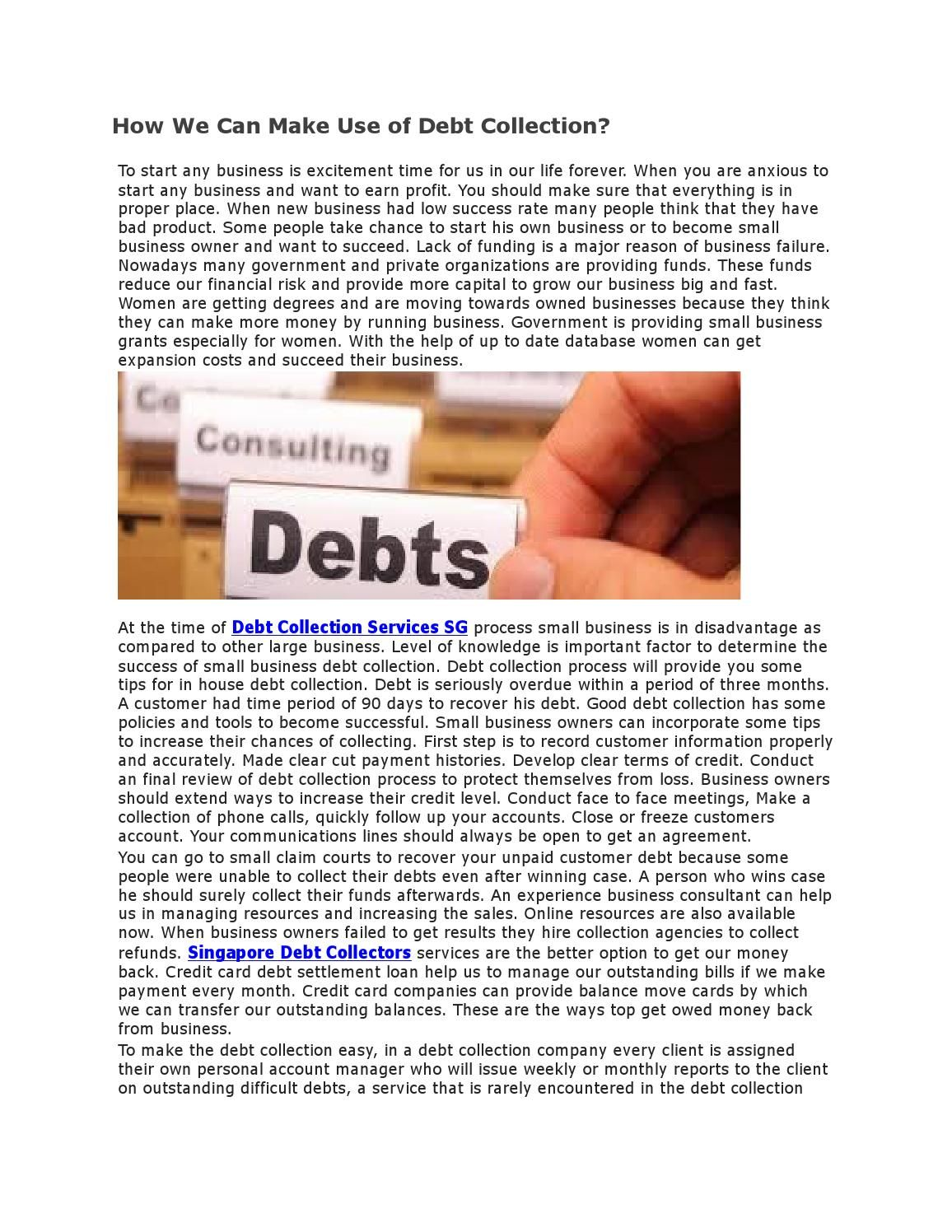 How we can make use of debt collection Debt collection