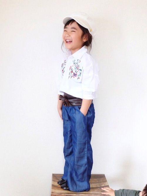 今日のピックアップタグ☺︎ #刺繍 ワイドパンツも相性ぴったり♡ ▷🙆 109cm ▷pants
