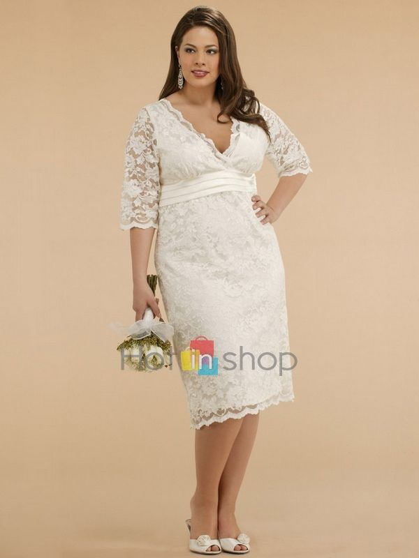 White Lace Plus Size Wedding Dress with Low V-neckline and Three ...