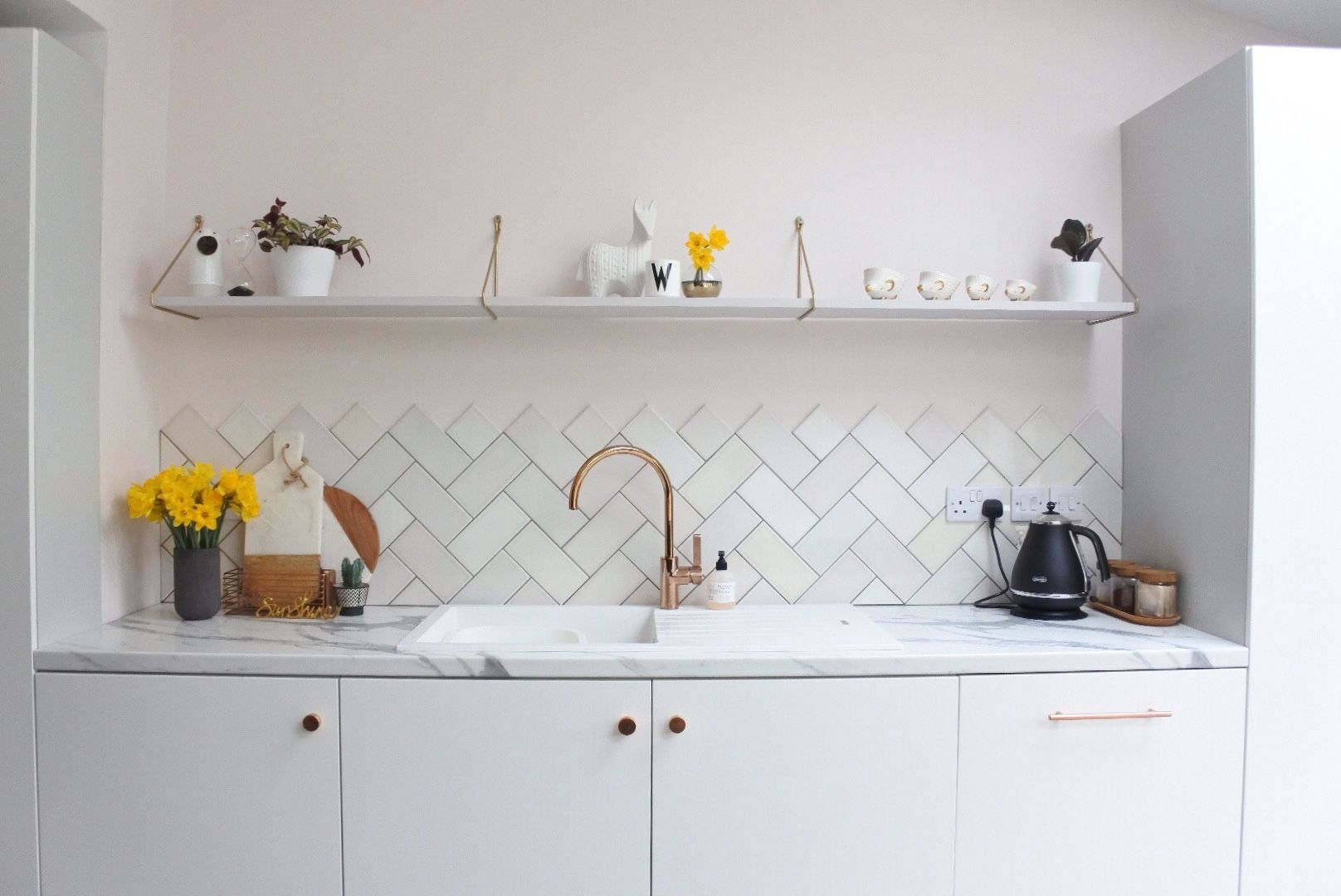 Kitchen inspiration - Valspar's Peaceful Soul on  the walls, beautiful pastel hues on the tiles and open shelves to make everything look pretty.