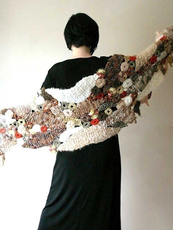 Falling Leaves - PDF pattern for a freeform style knit and crochet ...