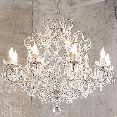 Amazing French Provincial Glass Crystal Chandelier Large 8 Light Cream Vintage