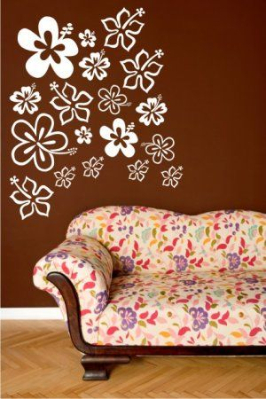 Vinyl Wall Art Decal Sticker 18 Hawaiian Hibiscus Vinyl Wall Decal Girls Room Vinyl Wall Art Decals Vinyl Wall Art
