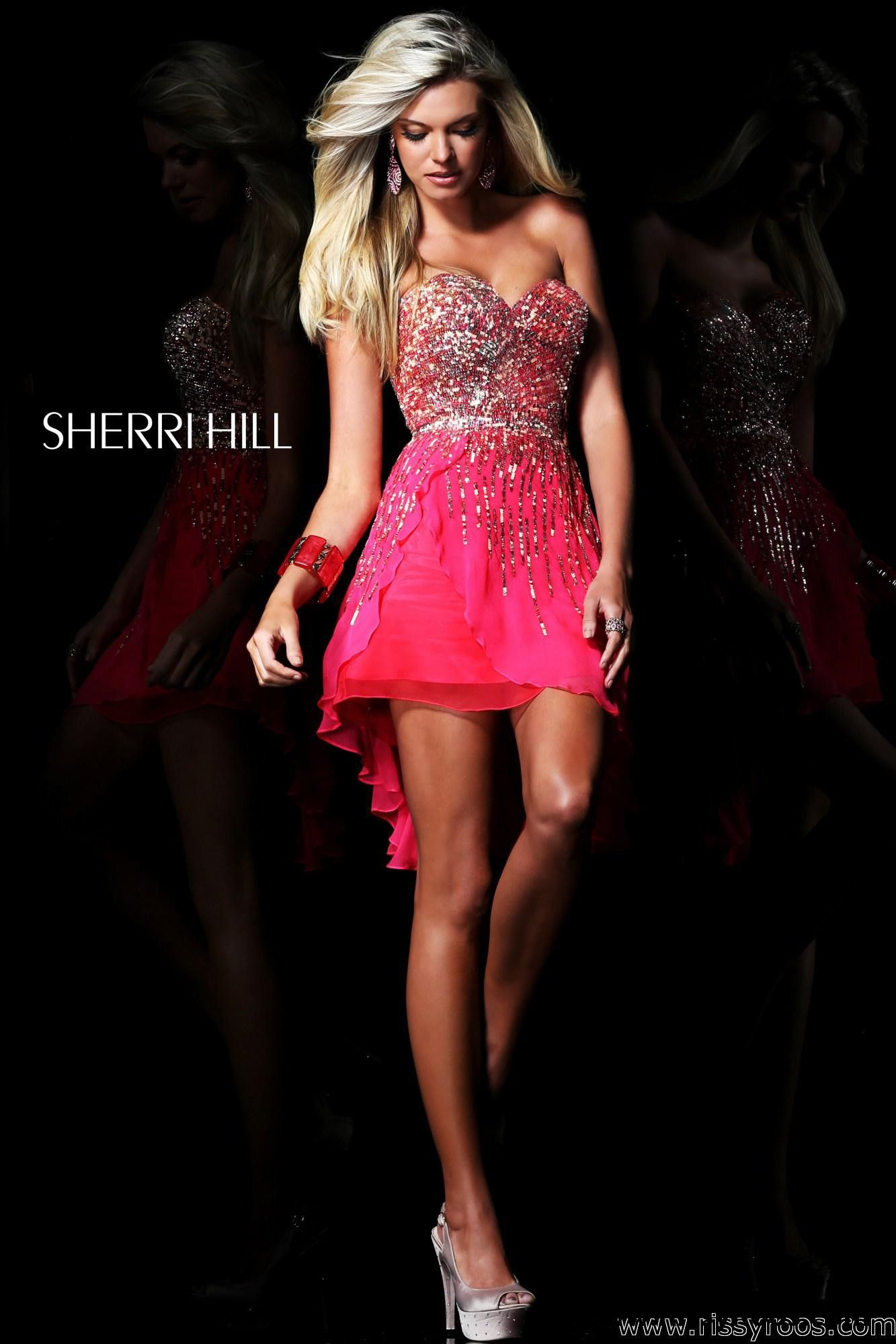 Strawberry pink sequin hi lo prom dress with a sweetheart neckline