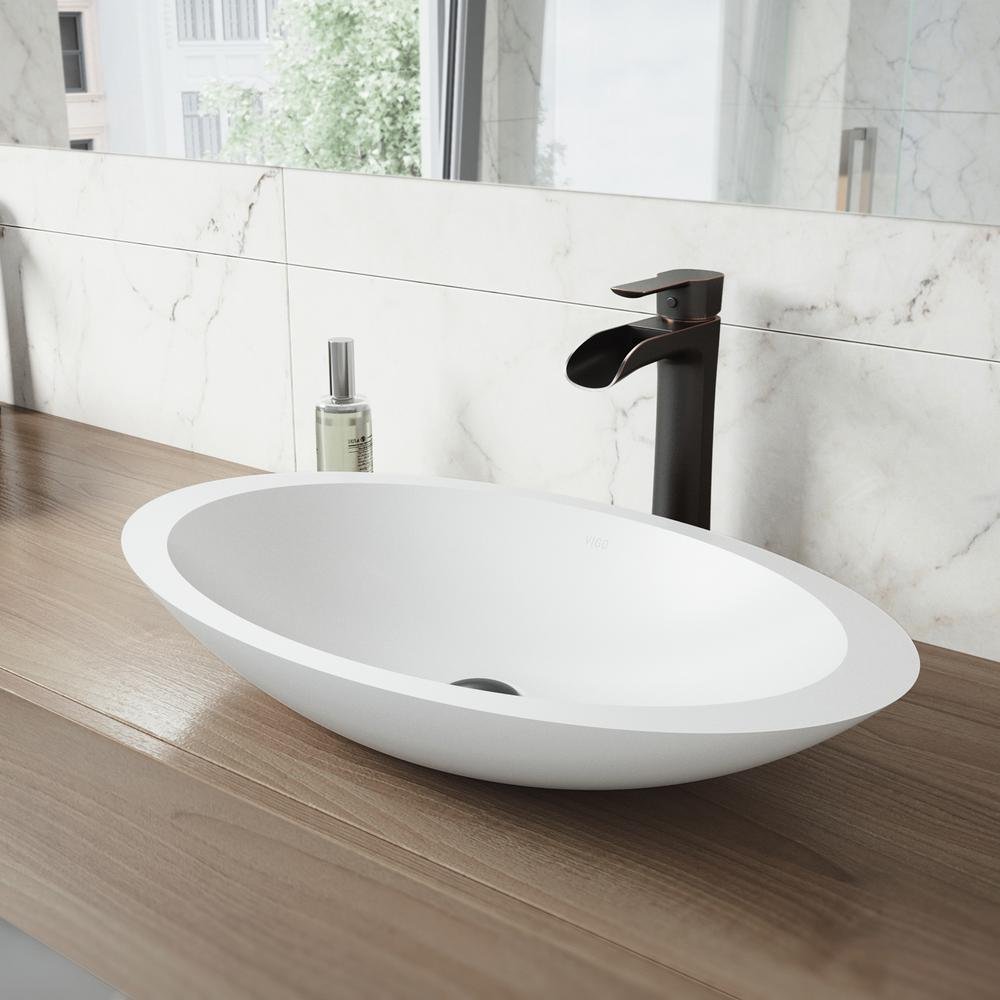 Vigo Wisteria White Matte Stone Vessel Bathroom Sink In White With Niko Vessel Faucet In Antique Rubbed Bronze Vgt1243 The Home Depot Vessel Sink Bathroom Bathroom Sink Faucets Bathroom Faucets