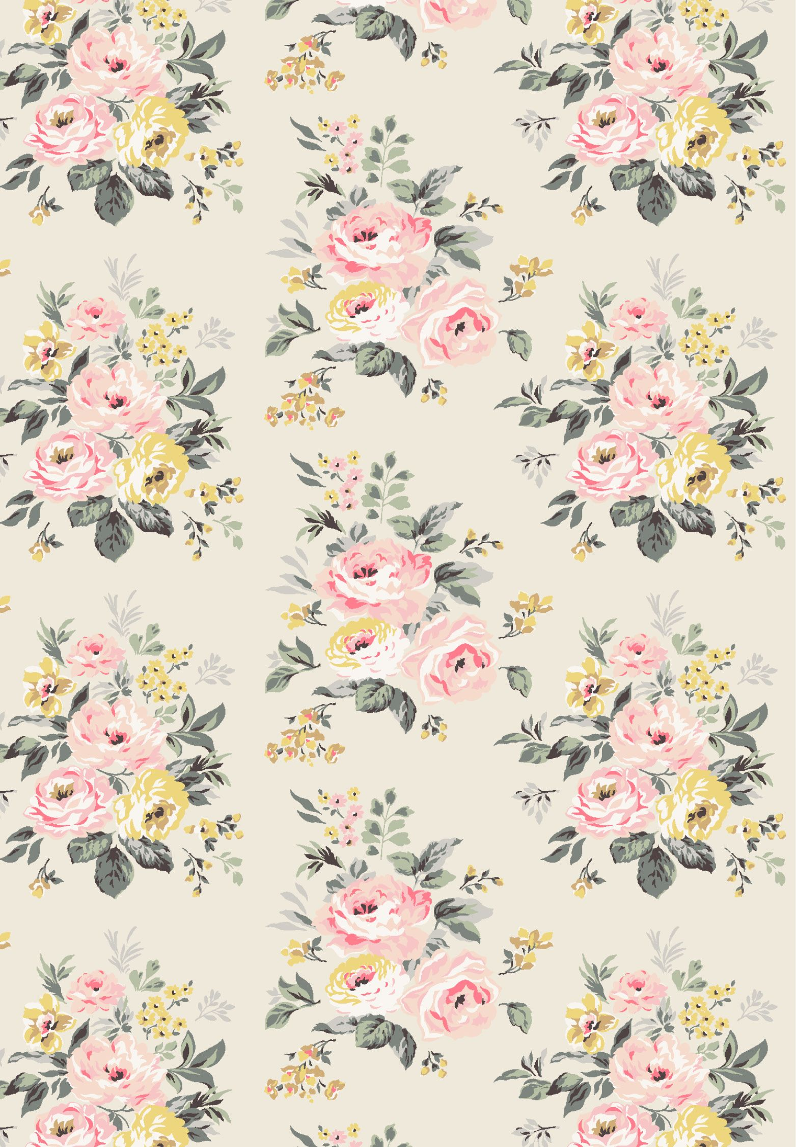 Vintage Bunch Print Beautiful Pink Yellow Flowers On A Cream