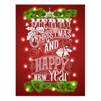 Beautiful Merry Christmas New Year Typography Holiday Postcard