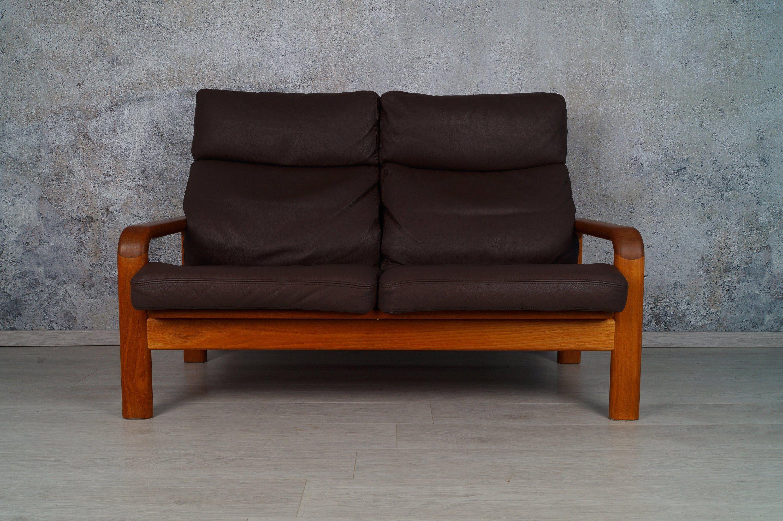 Danisches 2 Sitzer Sofa Teak Von L Olsen Son Nappaleder 1960er