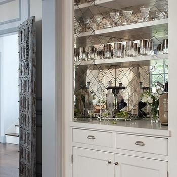 Antiqued Mirror Herringbone Bar Backsplash Amy Meier Design