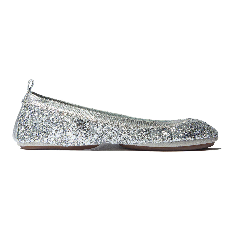 0252807f53e7 Serena Bridal Platinum Chunky Glitter Ballet Flat   Products   Yosi ...