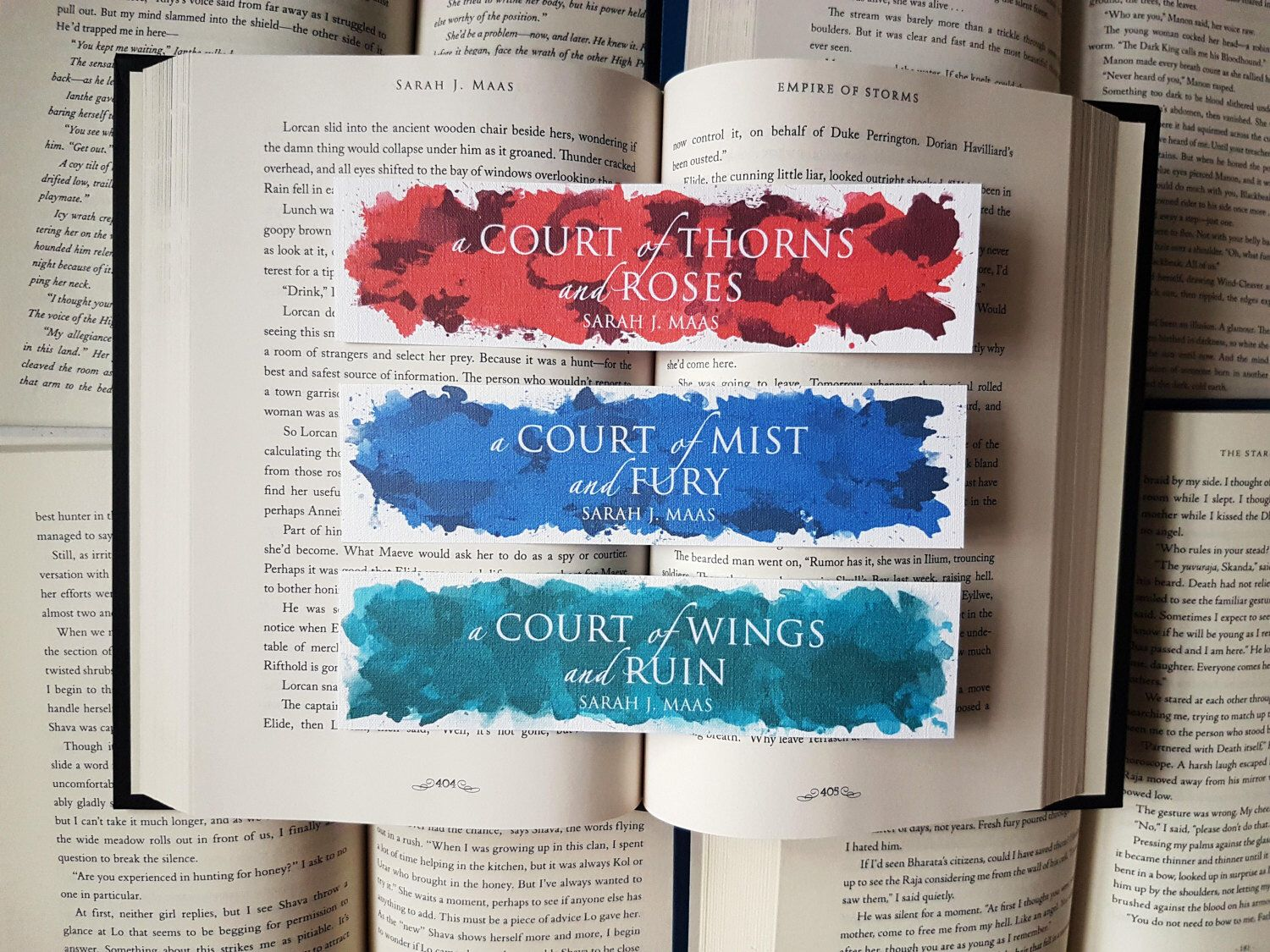 A Court Of Thorns And Roses Series Thin Watercolour Bookmarks By