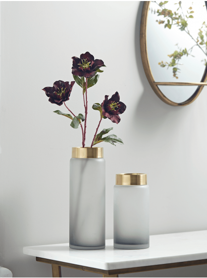 New Two Gold Grey Frosted Vases