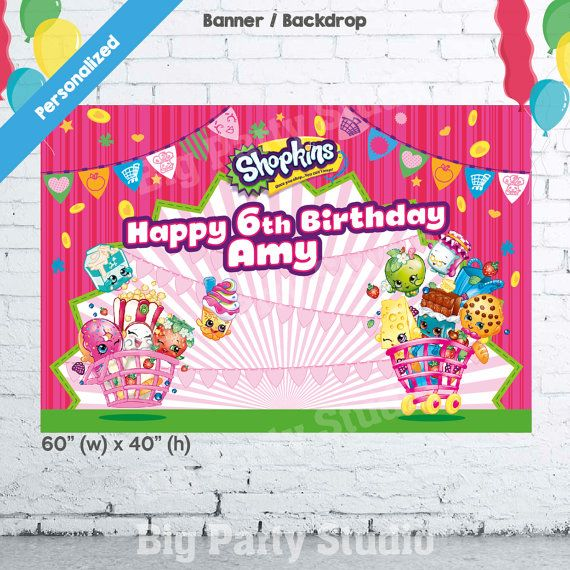 Shopkins Birthday Banner Shopkins Party Banner: Shopkins Happy Birthday Backdrop Shopkins Banner By