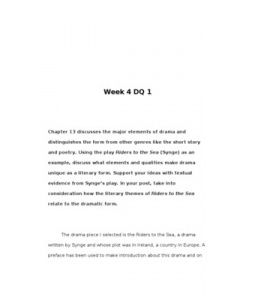 Chapter 13 discusses the major elements of drama and distinguishes the form from other genres like the short story and poetry. Using the play Riders to the Sea (Synge) as an example,… (More)