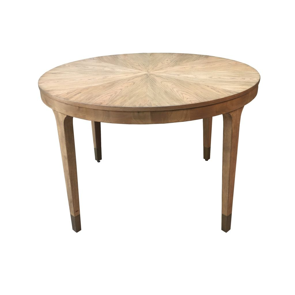 Madison Park Abbey Dining Table in Natural - Olliix MP121-0924  MP121-0924 Features: Transitional StyleTop Material:Wood Veneer and MDFBase Material:WoodTop Finish:Camel OAKBase Finish:Camel OAKMade in ChinaSize: Dia 46