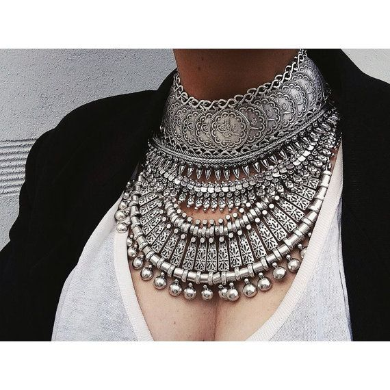 Chic Vintage Fashion Elegant Silver Plated  Necklace Choker Jewelry Antique