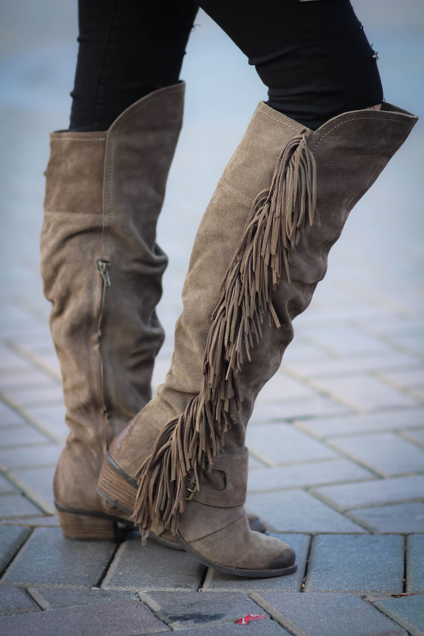 Fearlessly Free Knee High Suede Fringe Boots Taupe
