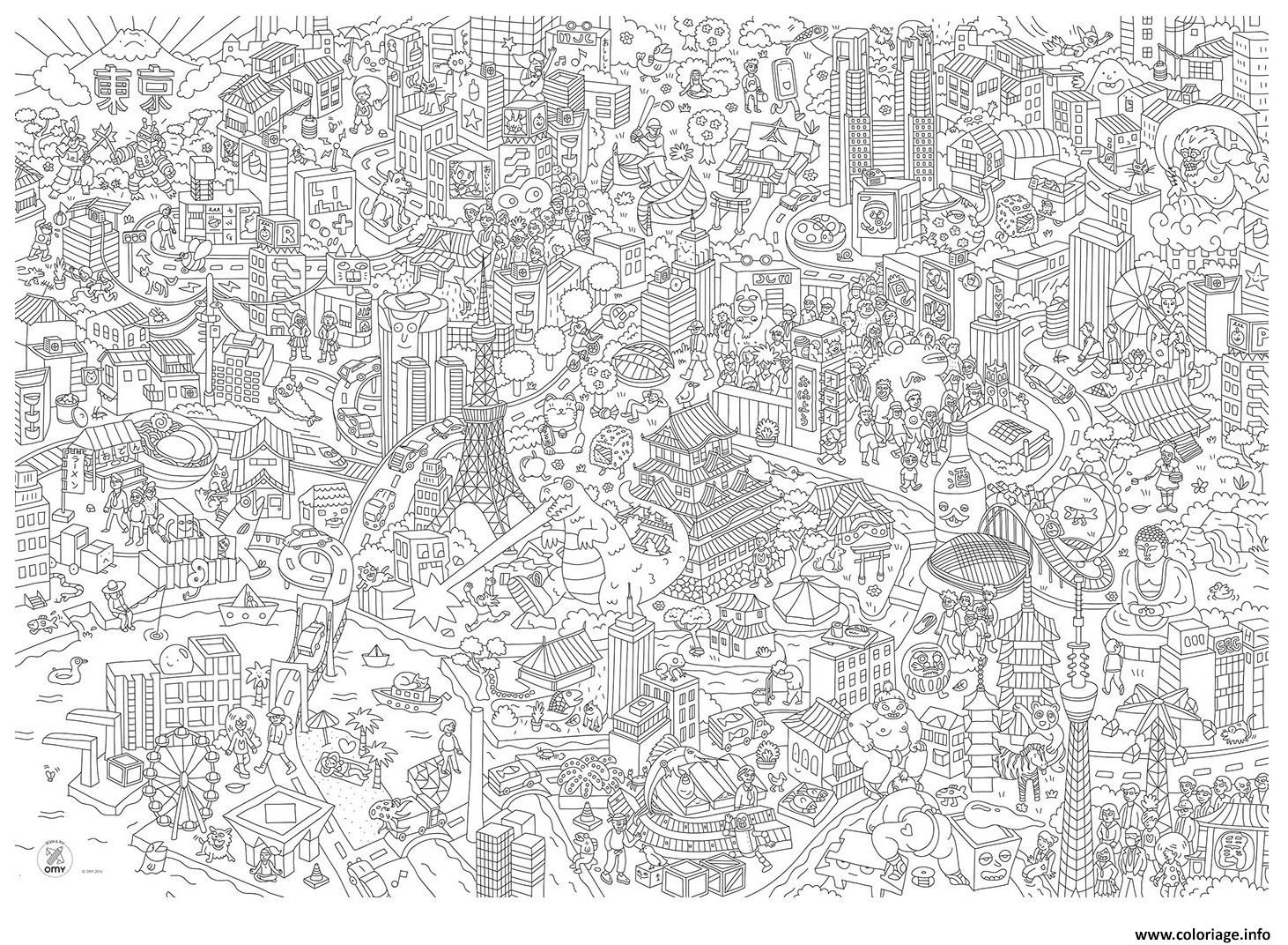 Coloriage xxl omy grand poster a colorier tokyo Dessin à Imprimer