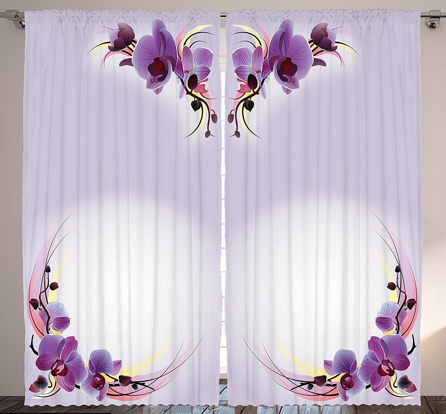 Bedroom Curtains Nature Home Decor By Ambesonne Orchid Flowers Theme Creative Design Art Print Bedroom Natural Home Decor Creative Home Decor Floral Curtains