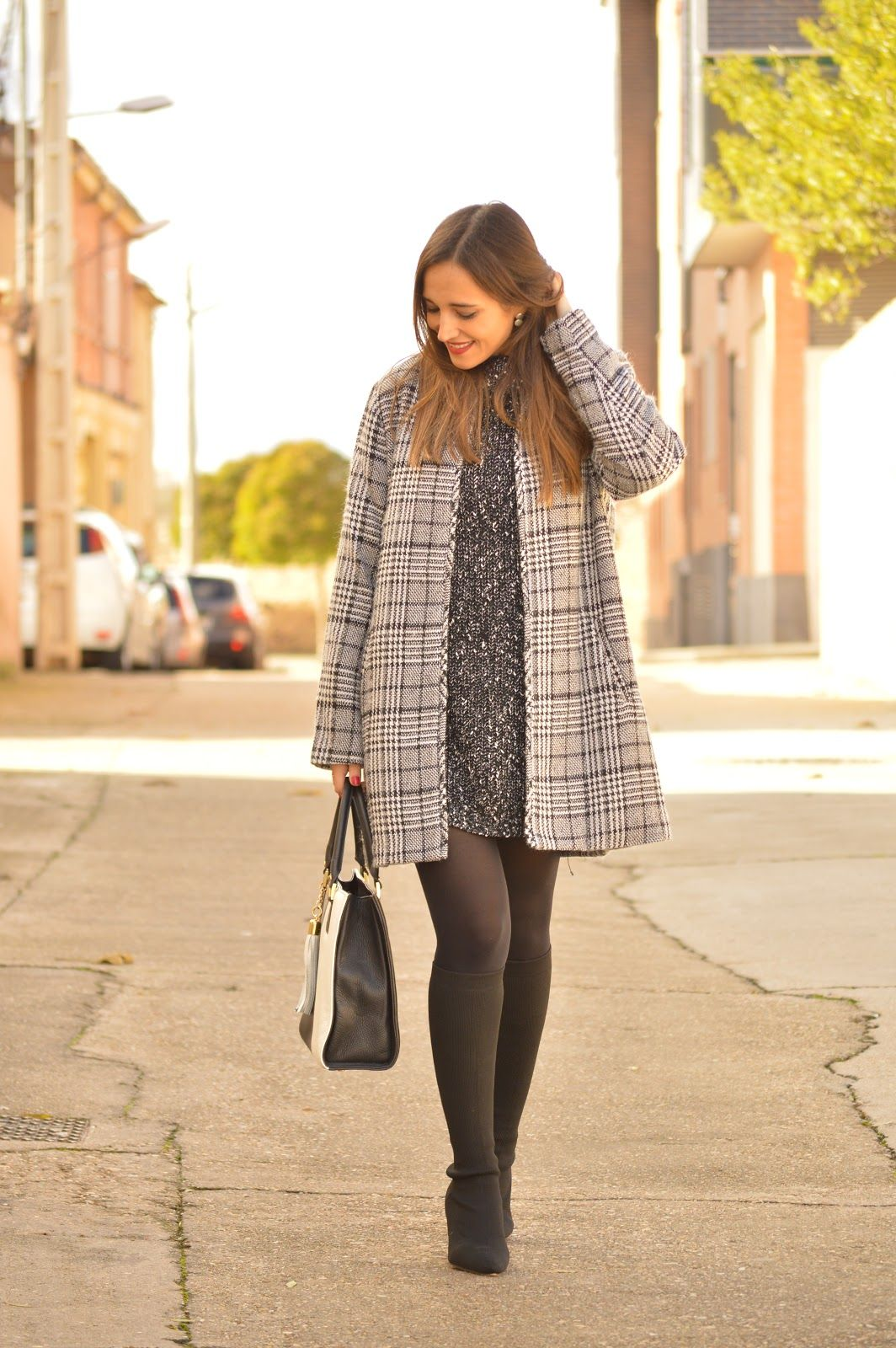 1aa12e16e24 Grey tweed dress+black tights+black ankle strap heels  pumps+grey plaid  long coat+black and white tote bag  handbag. Fall Workwear Outfit 2018