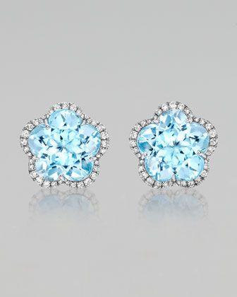 0a1ed7e71 Grace Flower Blue Topaz & Diamond Earrings by Kiki McDonough at Neiman  Marcus.