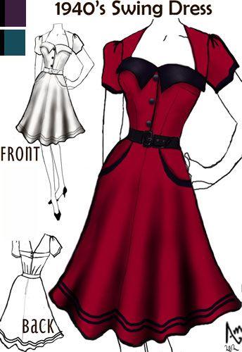 b26329cf11 1940s Swing Dress