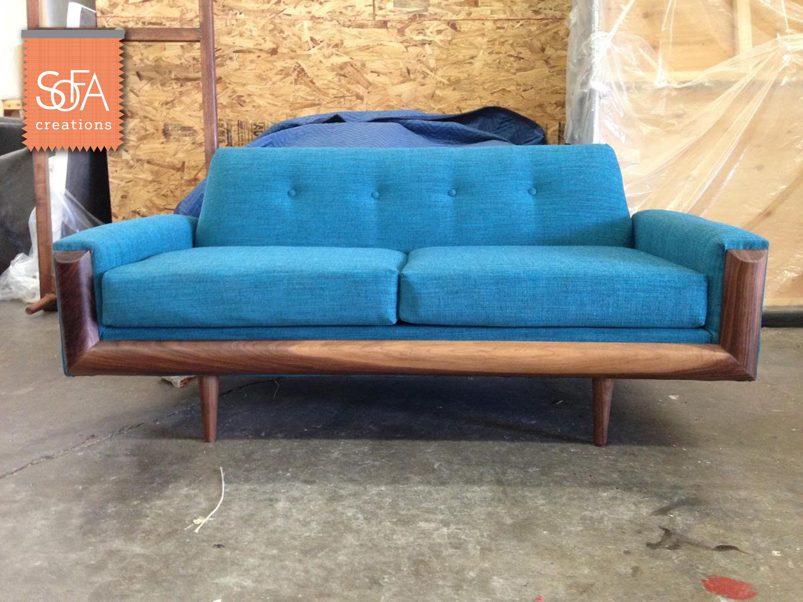 Woodside Sofa with Custom Wood Base - The Woodside sofa is ...