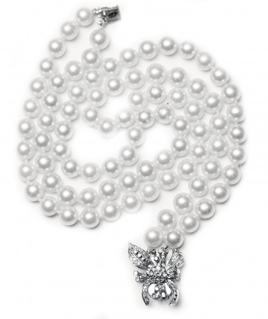 Double Strand Cultured Pearl Necklaceposed Of Eighty Six 8 To 83mm  Pearls Arranged In