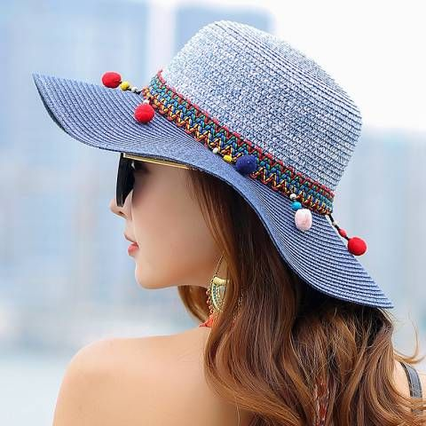 561be9ca Summer wide brim straw hat with pom poms for women UV beach sun hats ...