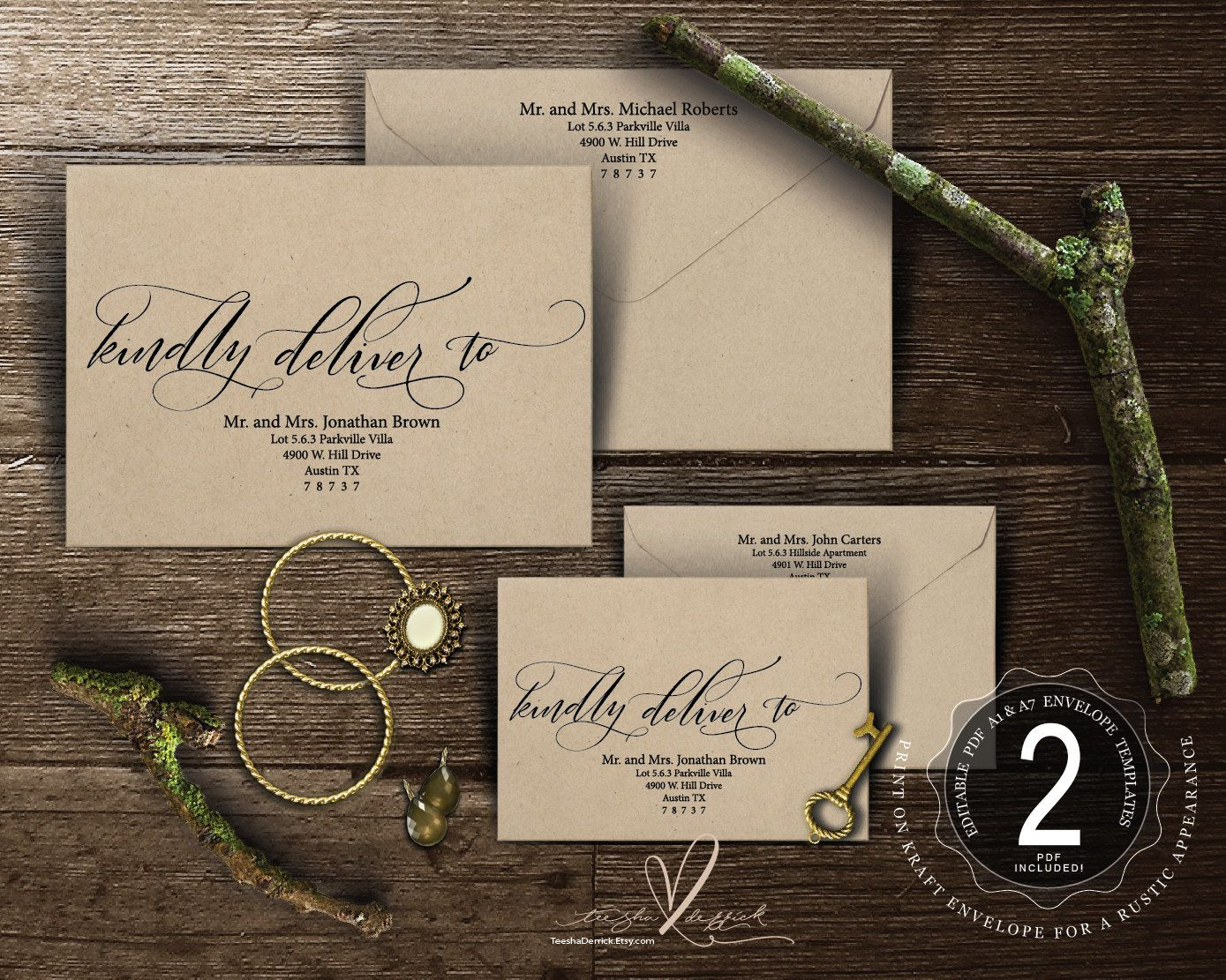 Editable envelope template kindly deliver to instant download pdf editable envelope template kindly deliver to instant download pdf kraft rustic calligraphy theme stopboris Choice Image