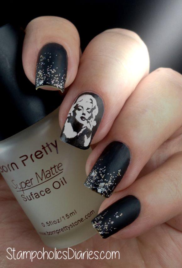Marilyn Monroe nails on black matte polish. | Nail Art | Pinterest ...