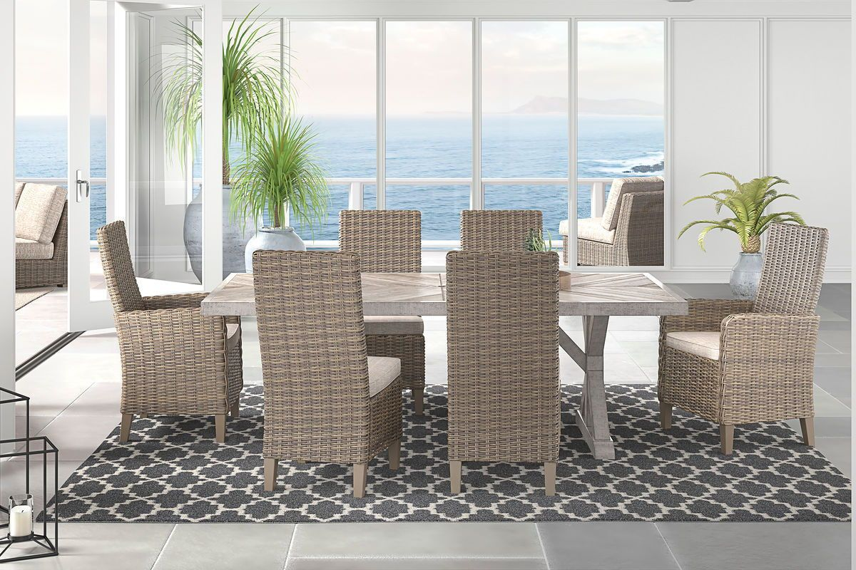 The Beachcroft Beige Dining Set with 4 Side Chairs & 2 Arm ... on Beachcroft Beige Outdoor Living Room Set  id=33810