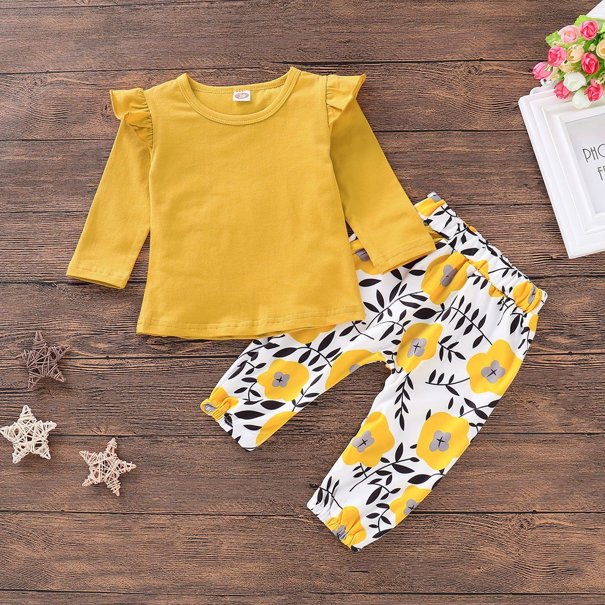 Infant Baby Girls Yellow Ruffled Long Sleeve Shirt Blouse Outfits Clothes for Autumn