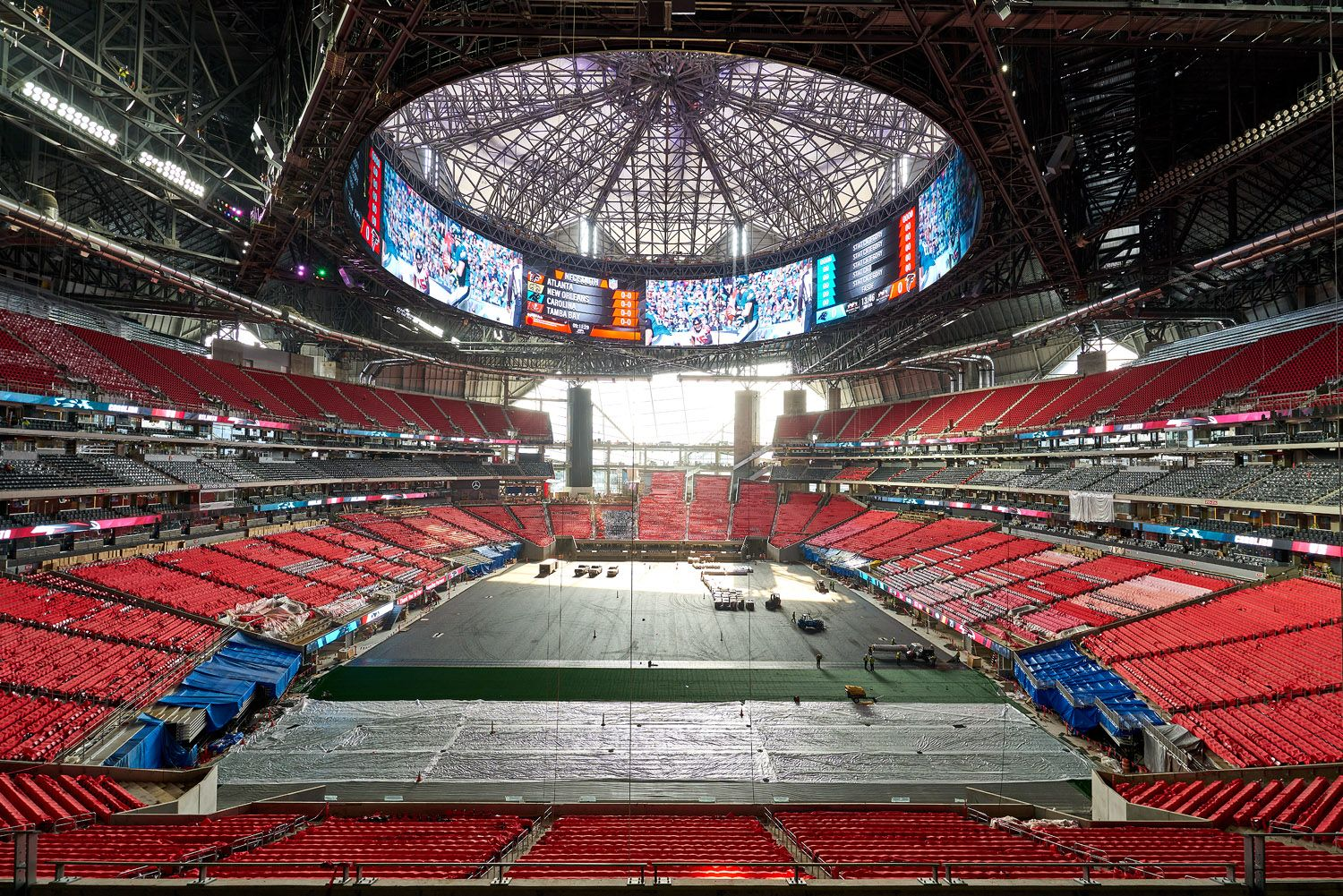 Mercedes Benz Stadium Construction To Completion Mercedes Mercedesbenz Arthurblank Arthurblankfoundation Atlanta Advertising Photography Stadium Photo