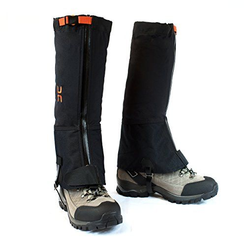 Black Crystal Hiking Ski Snow Gaiters Waterproof Breathable Nylon Womens Black Size Large by Black Crystal