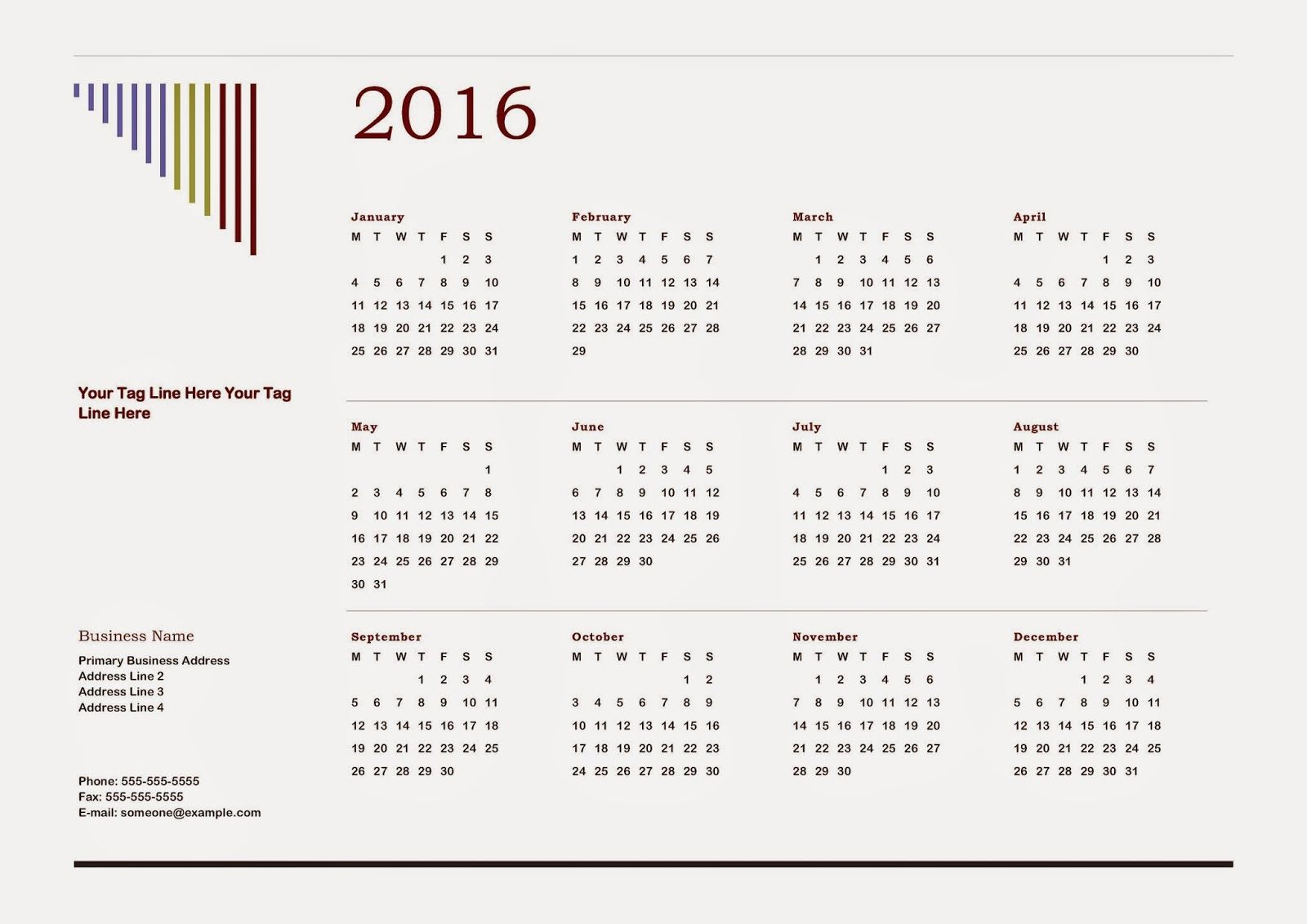 Calendar 2016 - Free Download Vector PDF JPG - Design_14_Cascade ...
