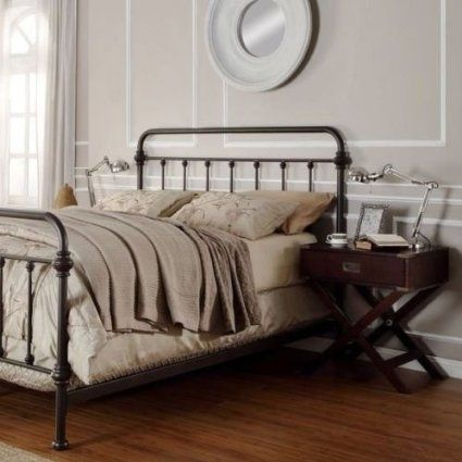 Iron Antique Finish Dark Bronze Queen Size Metal Bed