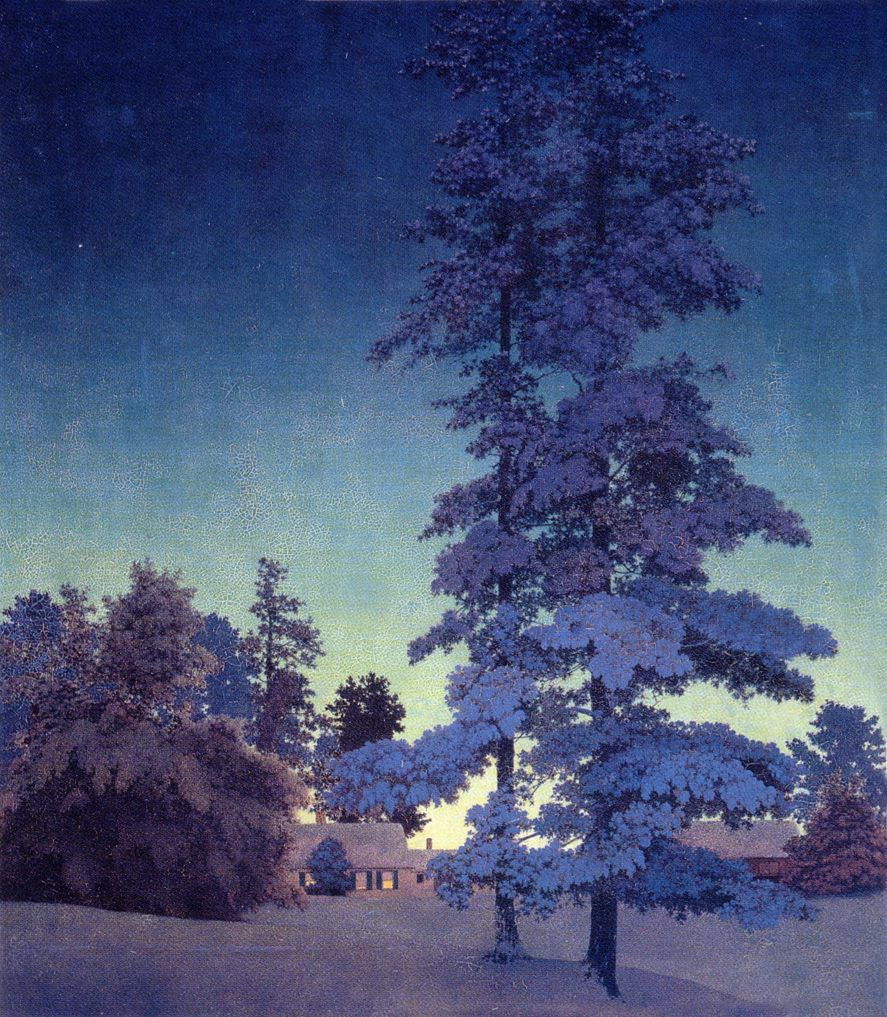 Maxfield Parrish 1870 1966 Winter Night Landscape