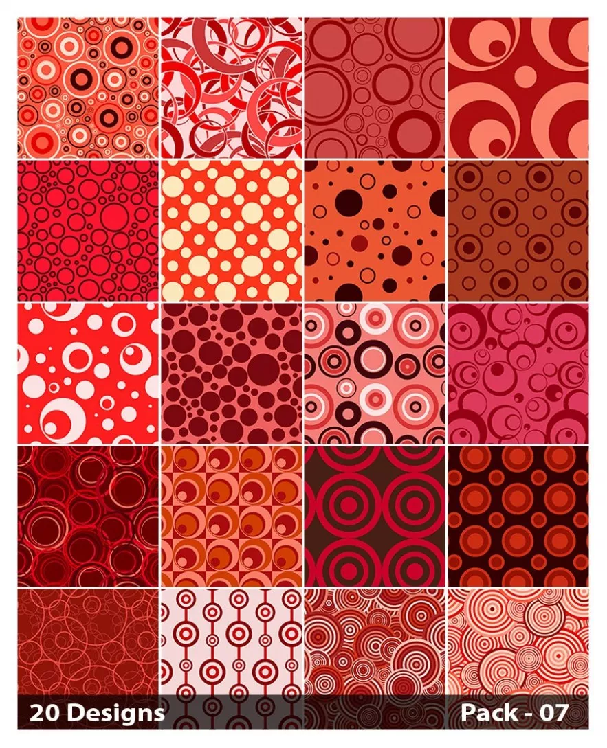 20 Red Circle Pattern Vector Pack 07 Circle pattern