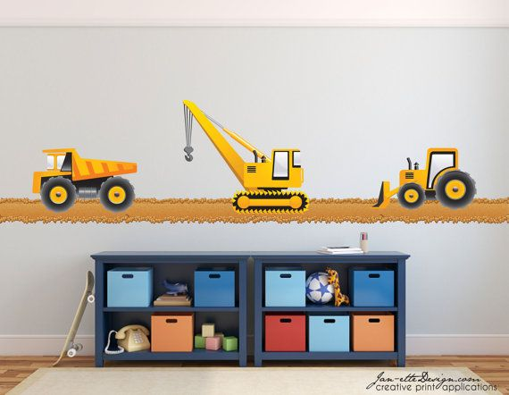 Boys Truck Wall Decalstruck Fabric Wall Decalsconstruction Etsy Transportation Theme Room Fabric Wall Decals Boys Wall Decals