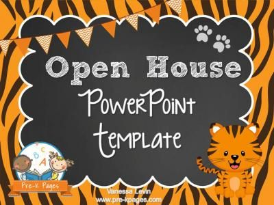 tiger theme open house ~ back-to-school ~ powerpoint template, Modern powerpoint