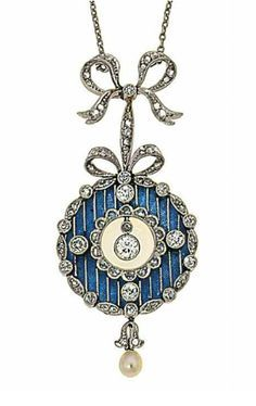 A blue guilloché enamel circular pendant necklace with applied old brilliant-cut diamond foliate details, to a diamond-set bow surmount and seed pearl drop, 4.9cm long; Belle Epoque period